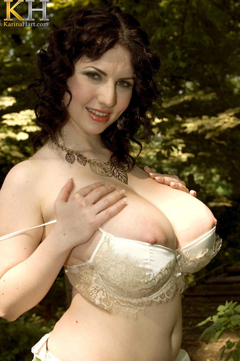 Karina is a lovely girl with giant boobs